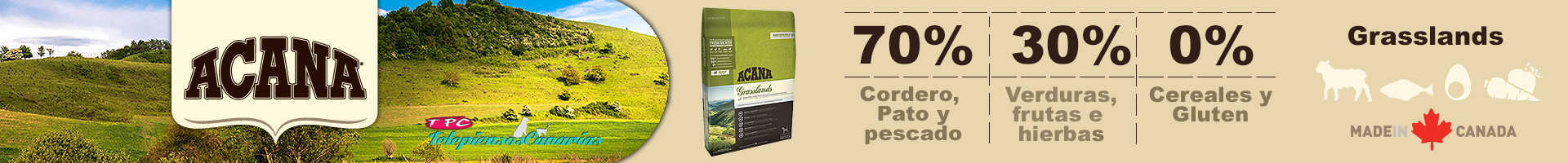 Acana grasslands, alimento para perro adulto con 70% de cordero, pato y pavo
