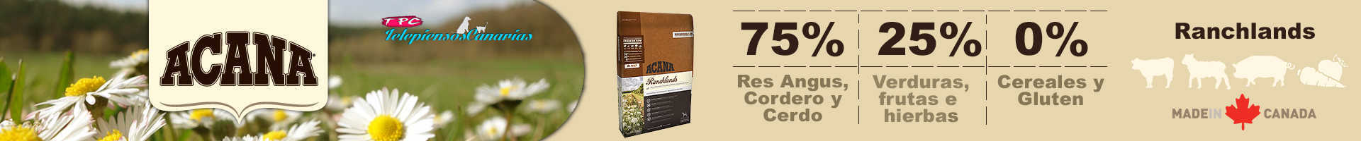 Acana ranchlands dog con 75% de carnes