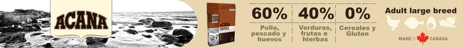 Acana adult large breed, alimento con 60% de carnes.