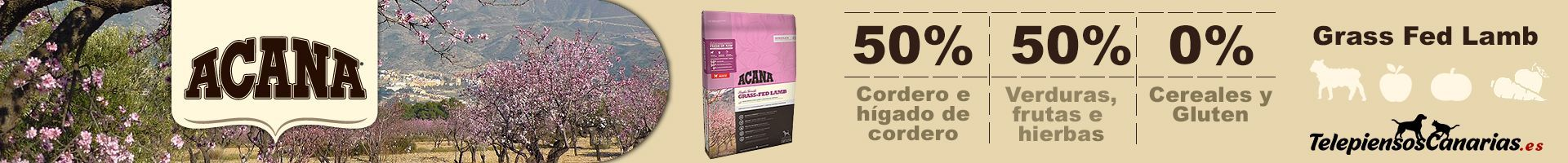 Acana Grass Fed Lamb, 50% de cordero y 50% verduras