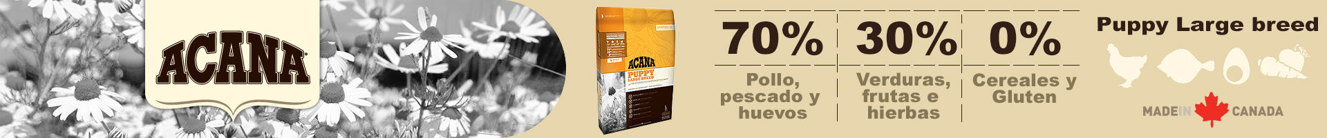 Acana puppy large breed, 70% aves, pescados y sin cereal