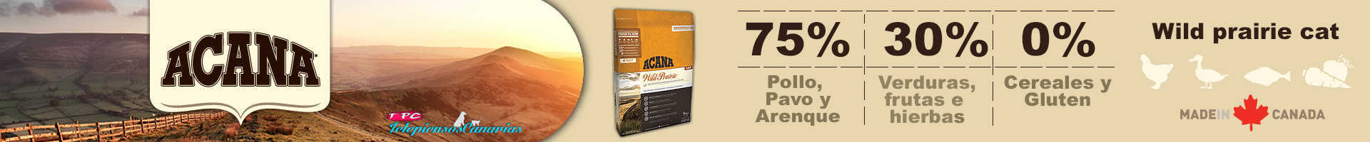 Acana wild prairie cat and kitten, con 70% de carnes 30% verduras y frutas