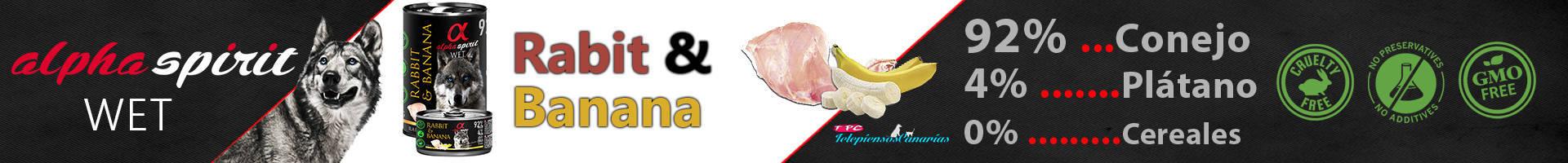 Alpha Spirit lata de conejo 92% y plátano 4%