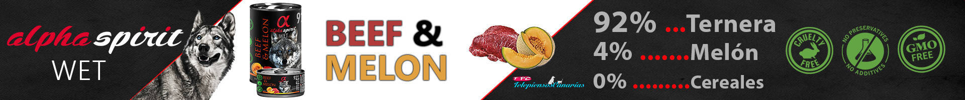 Alpha Spirit lata con 92% ternera y 4% de melón