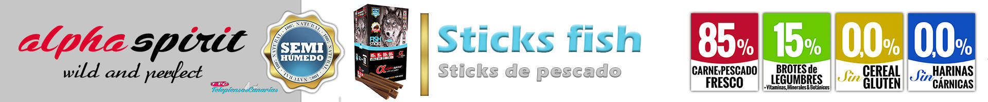 Alpha Spirit sticks fish, alimento con omega 3 y 6