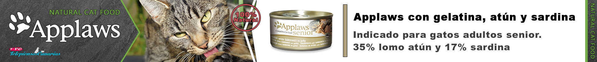 Applaws lata con gelatina de atún y sardina, para gatos senior