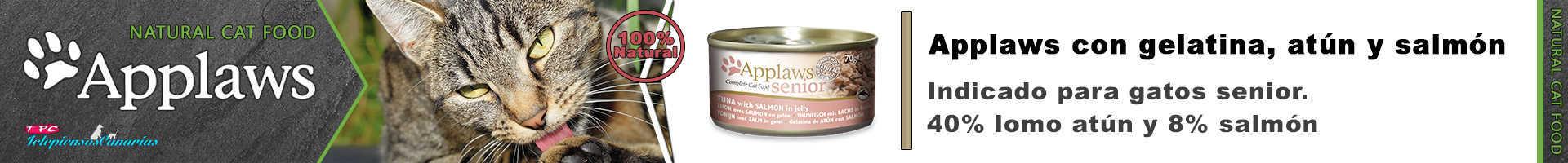 Applaws lata con gelatina, 40% lomo de atún, 8% salmón