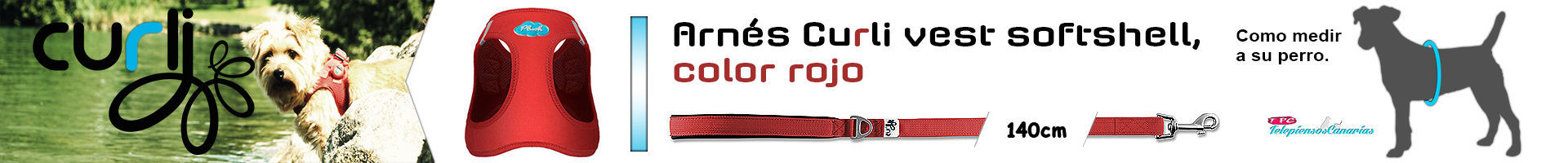 Arnés Curli vest softshell, color rojo, para perros de todas las razas