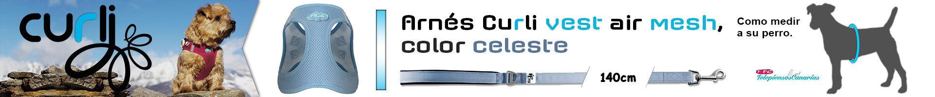 Arnés Curli vest air mesh, color celeste, con bandas reflectores