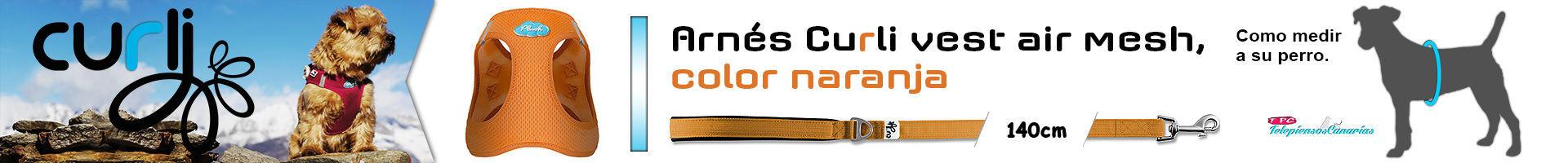 Arnés Curli vest air mesh, color naranja, protege de lesiones