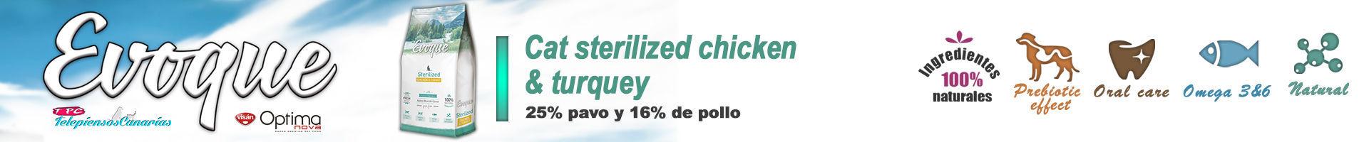 Evoque cat sterilized chicken and turquey, 25% de carne fresca