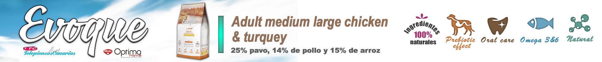 Evoque adult medium large chicken and turkey, con carne fresca 25%