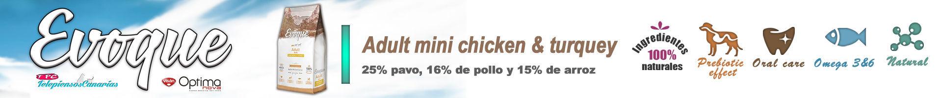 Evoque adult mini chicken and turkey, con carne de pavo 25%