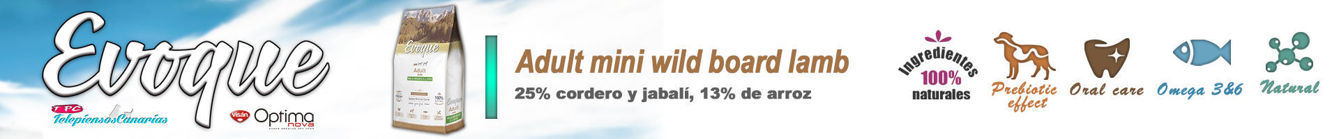 Evoque adult mini wild boar and lamb, con 25 % de carne fresca