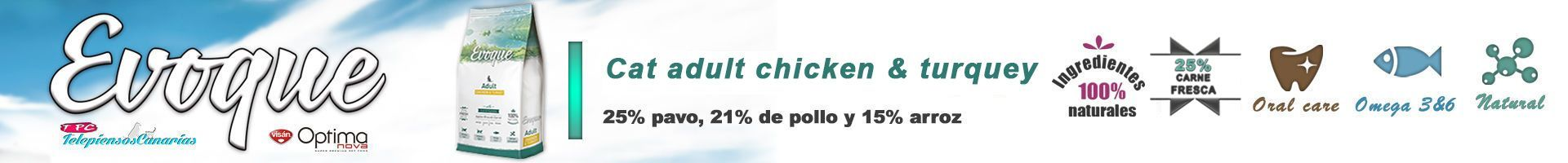 Evoque cat adult chicken and turquey, con 25% carne de pavo