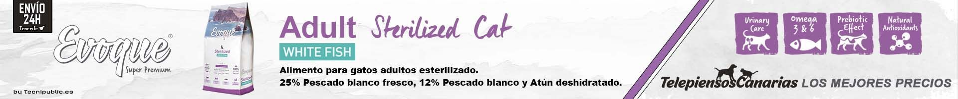 Evoque cat sterilized white fish, alimento con 25% de pescado fresco