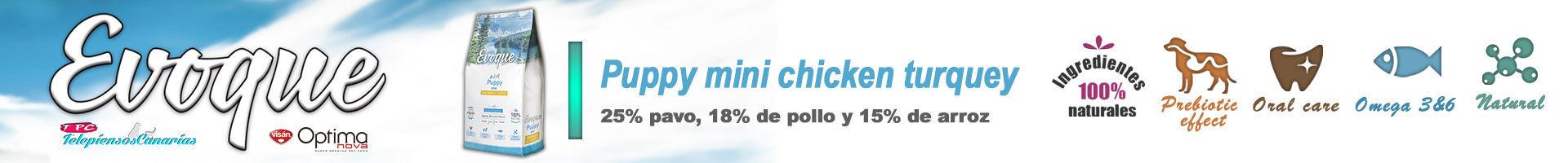 Evoque puppy mini chicken and turquey, con 25% de pavo fresco
