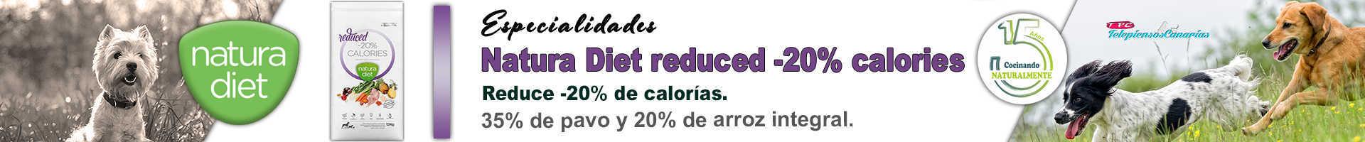 Natura diet reduce -20% de calorías, ideal para perros con sobrepeso