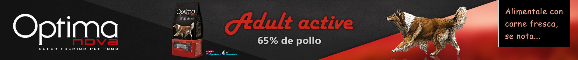 Optima nova adult active, con 65% de pollo y 15% de arroz
