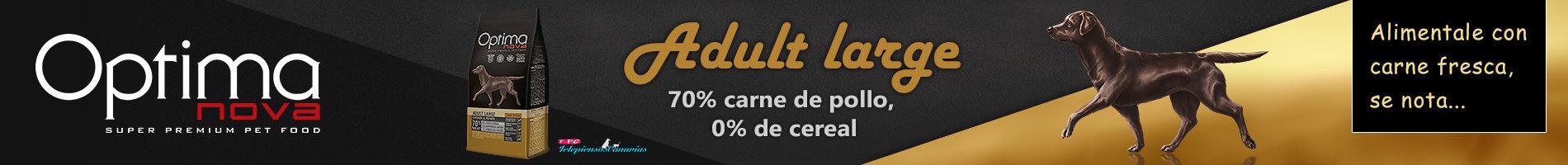 Optima nova adult large chicken and potato, con 70% de pollo y 15% de papa