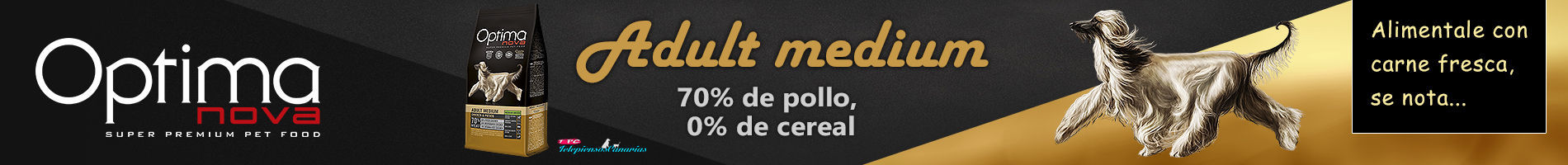 Optima Nova adult medium chicken potato, con 70% de pollo y 15% papa