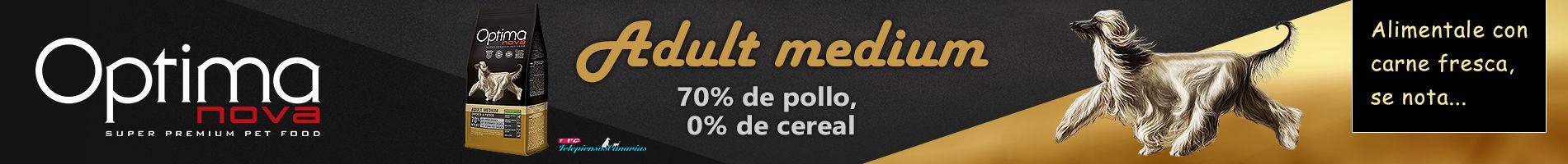 Optima Nova adult medium chicken potato, con 70% de pollo y 15% papa