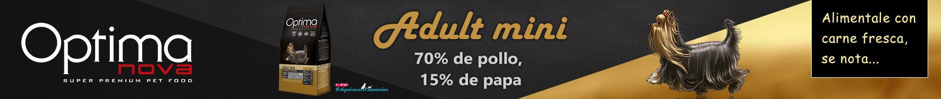 Optima Nova adult mini chicken potato, con 70% de pollo y 15% de papa