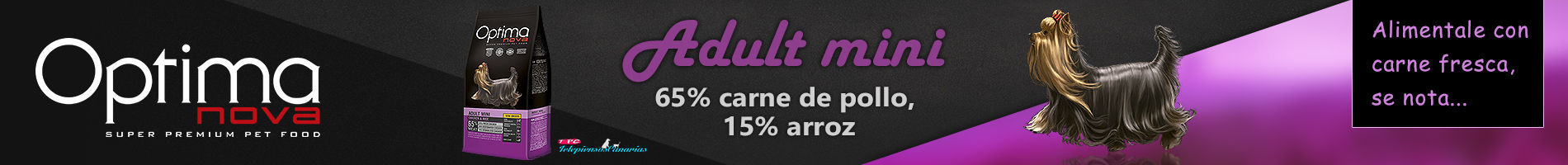 Optima nova adult mini, 65% pollo y con 15% arroz