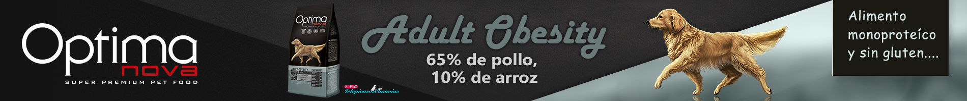 Optima nova adult obesity, con 65% pollo, 10% arroz y monoproteico