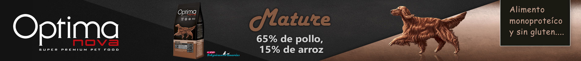 Optima nova mature, con 65% pollo, 15% arroz y sin gluten