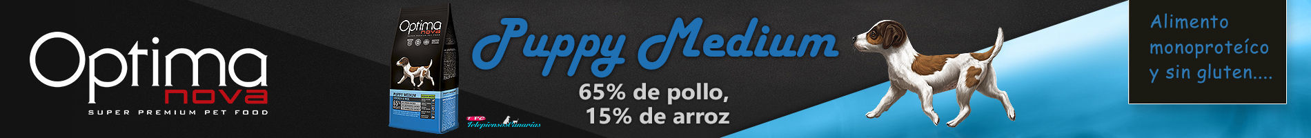 Optima nova puppy medium, con 65% pollo y 15% arroz.