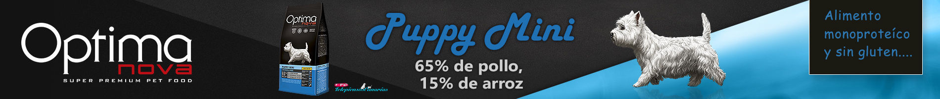 Optima nova puppy mini con 65% pollo y 15% arroz