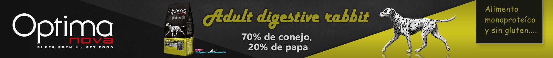 Optima nova adult digestive con 70% de conejo, papa y sin cereal