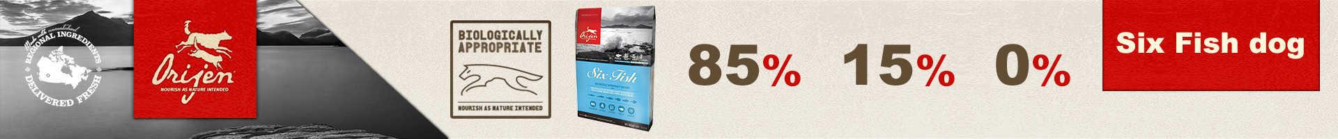 Orijen sixfish, pienso con 6 tipos de pescados, para perros con alergias