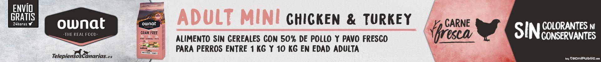 Ownat prime mini chicken, pienso con pollo para perros de raza mini