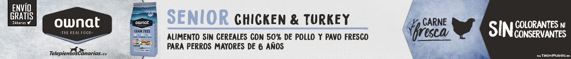 Ownat prime senior chicken, para perros mayores con pollo y 0% cereales
