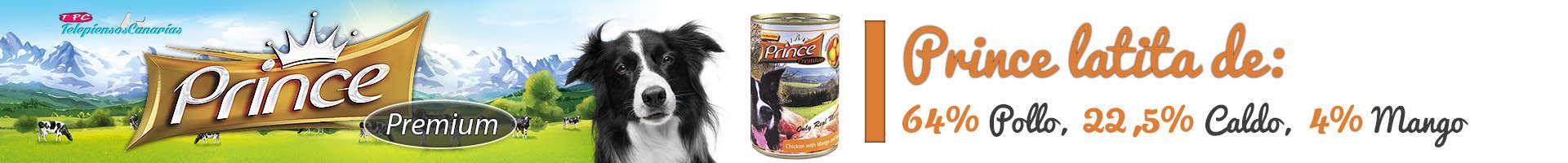 Prince latita de pollo (64%), mango 4%, batata y sin transgénicos