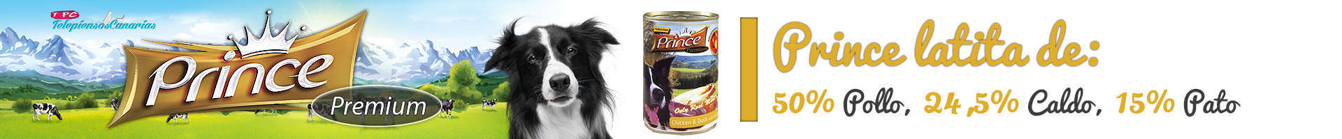 Prince latita de pollo (50%), pato (15%), mandarina y manzana