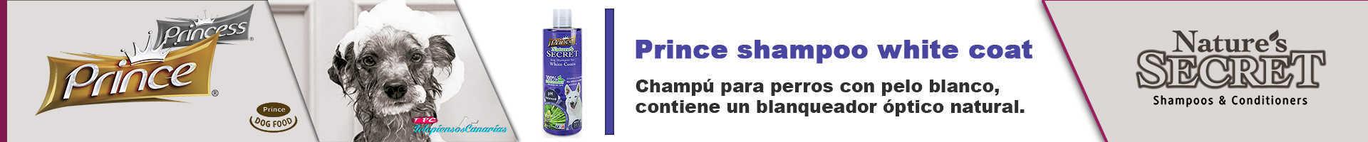 Prince champú pelo blanco para perros, 100% biodegradable
