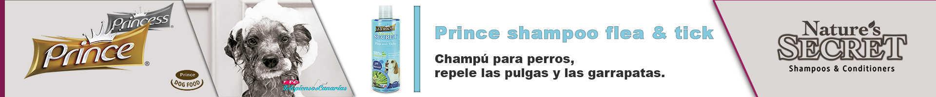 Prince champú para perros, contra pulgas y garrapatas