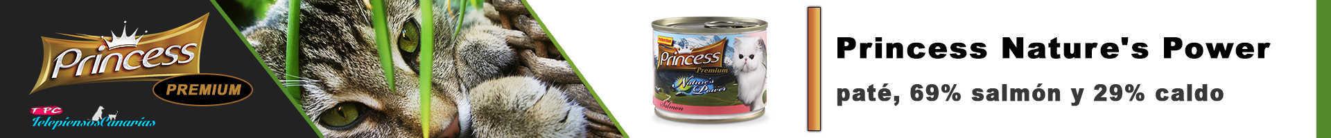 Princess natures power paté con (69%) salmón, para gatos de todas las edades