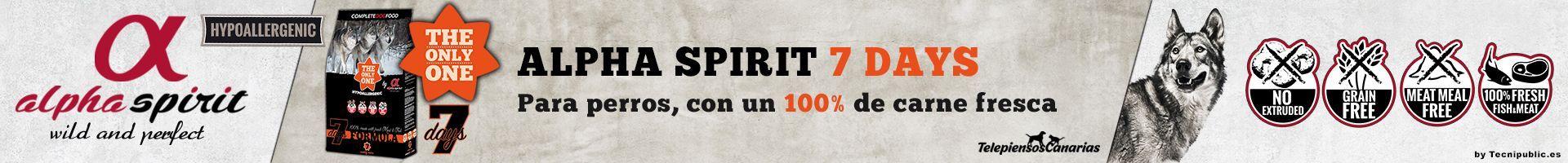 Alpha Spirit seven day, alimento para perros 35% pollo y sin cereal