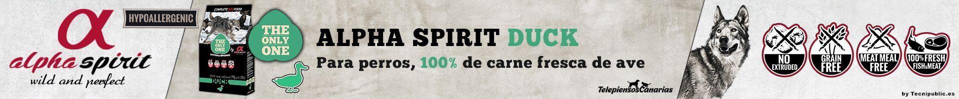 Alpha Spirit duck, pienso para perros con 45% pato, 30% pavo y 25% pollo