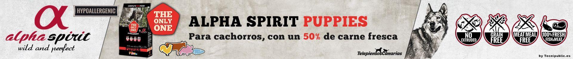 Alpha Spirit puppies, pienso para cachorros con 35% pavo, 15% pescado