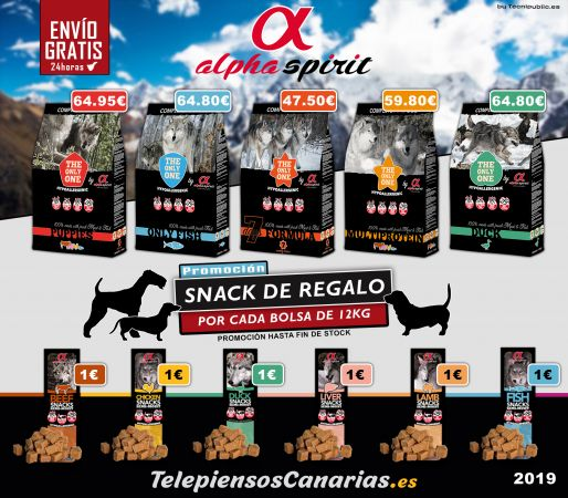 Alpha spirit alimento para perros, por bolsas 12kg regalo snack
