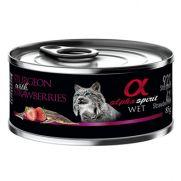 Alpha Spirit lata para gato con 92% de esturión 4% de fresa