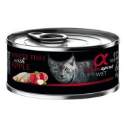 Alpha Spirit lata para gato con 92% pescado y 4% manzana