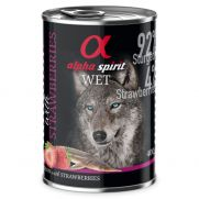 Alpha spirit latas para perros adultos con 92% esturión y 4% de fresa
