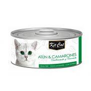kit cat lata con 37% atún y 3.75% camarones para gatos