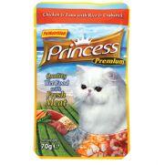 Princess bolsa de pollo (25,5%), atún (25,5%) y cangrejo (3%)